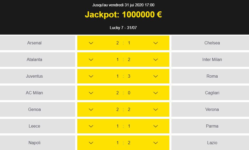 Jackpot un million euros grille Betfirst